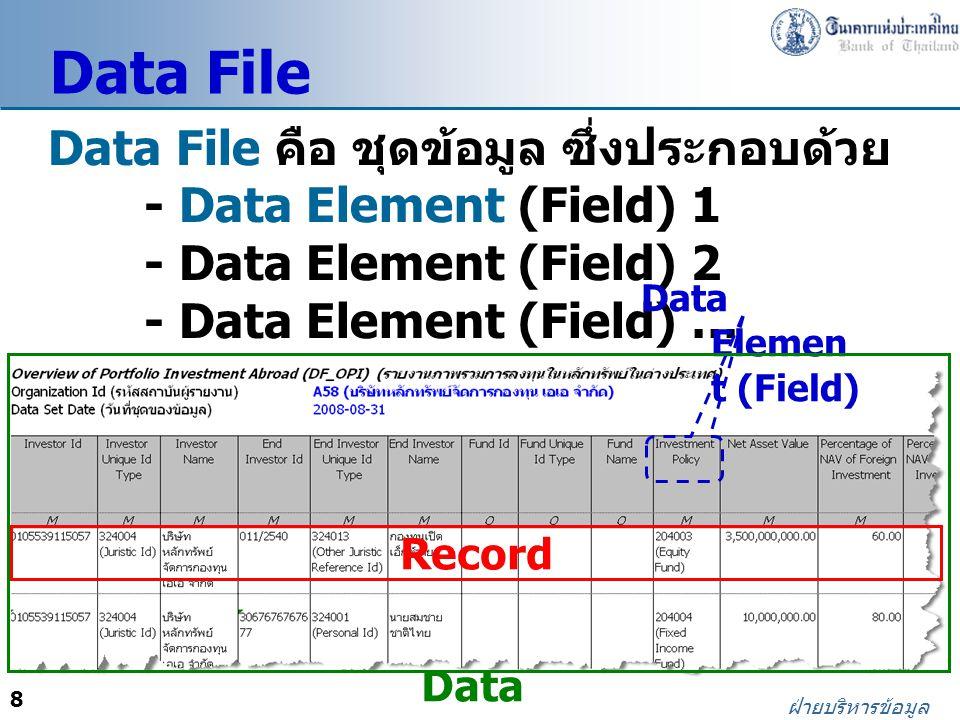 Data File Data File คือ ชุดข้อมูล ซึ่งประกอบด้วย