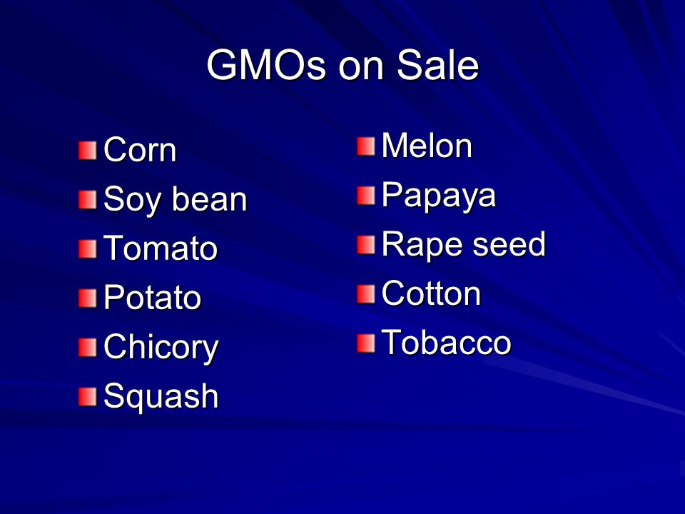 GMOs on Sale Melon Corn Papaya Soy bean Rape seed Tomato Cotton Potato