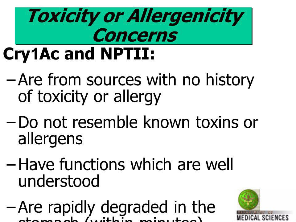Toxicity or Allergenicity Concerns