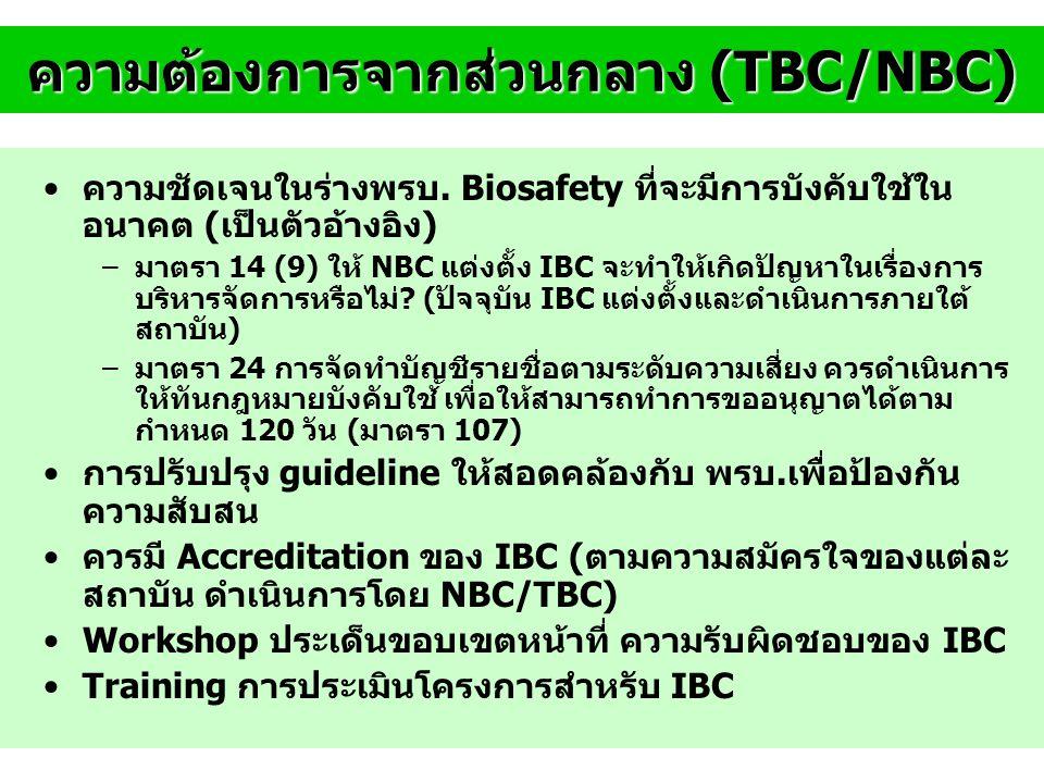 ความต้องการจากส่วนกลาง (TBC/NBC)