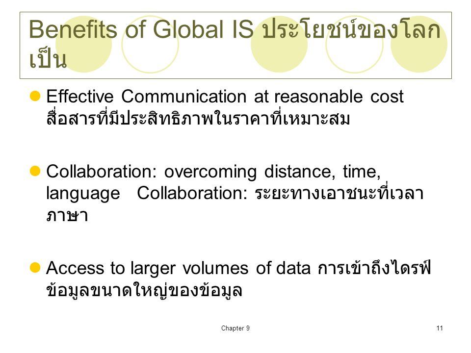 Benefits of Global IS ประโยชน์ของโลกเป็น