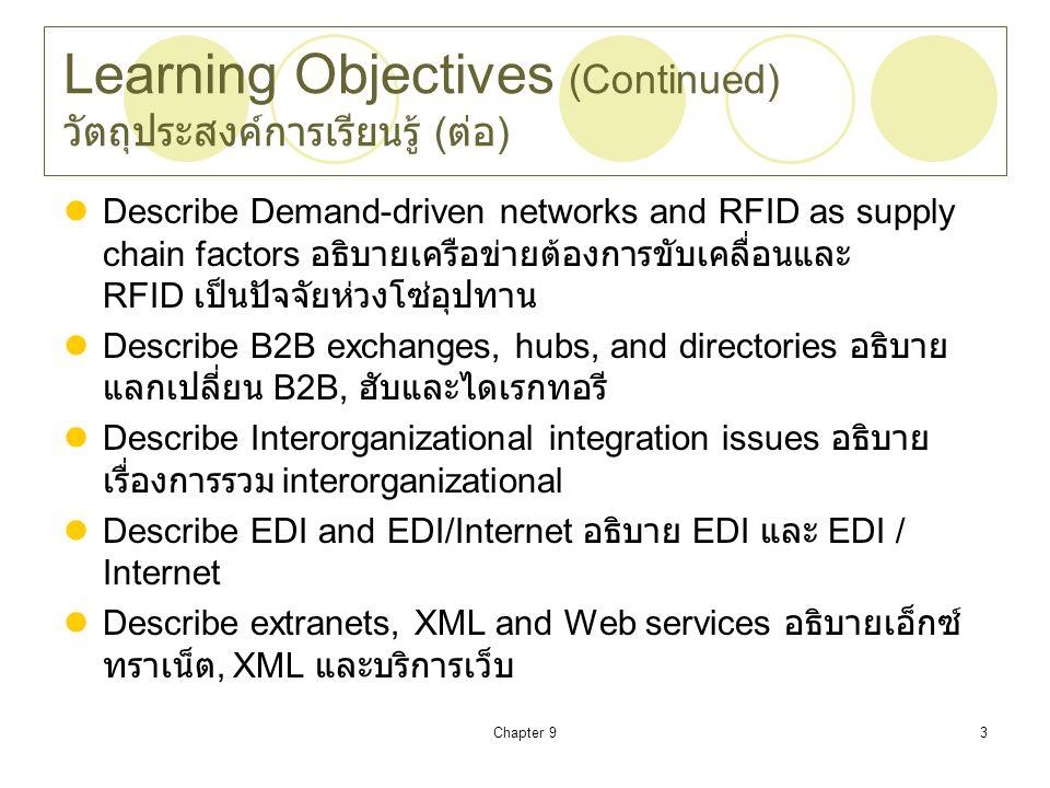 Learning Objectives (Continued) วัตถุประสงค์การเรียนรู้ (ต่อ)