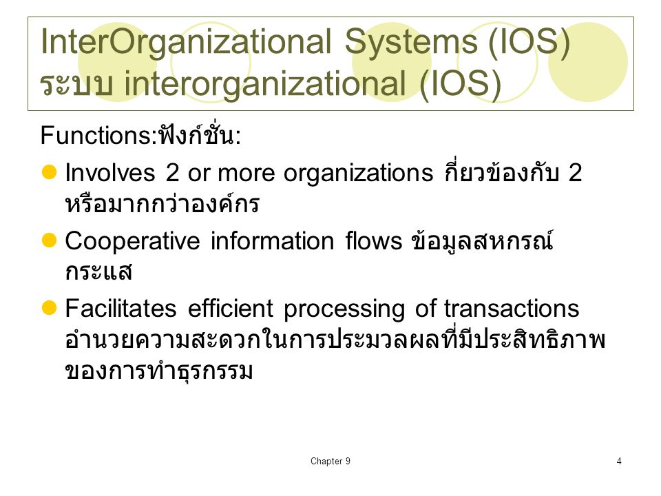 InterOrganizational Systems (IOS) ระบบ interorganizational (IOS)