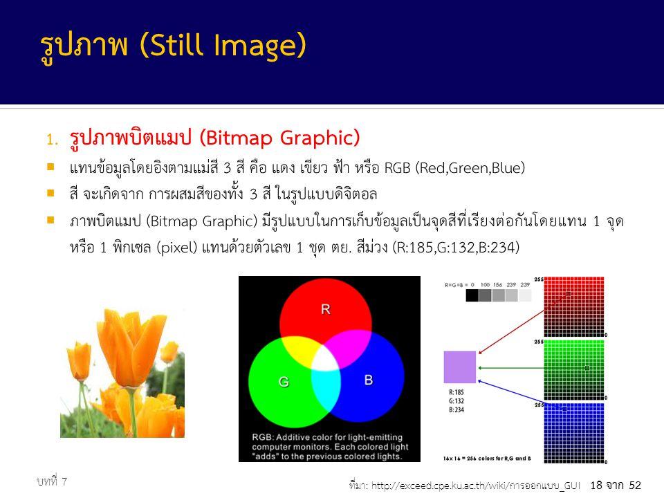 รูปภาพ (Still Image) รูปภาพบิตแมป (Bitmap Graphic)