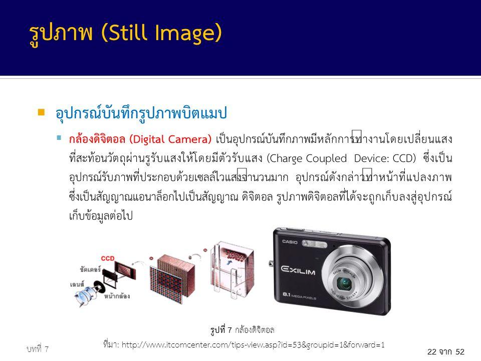 รูปภาพ (Still Image) อุปกรณ์บันทึกรูปภาพบิตแมป