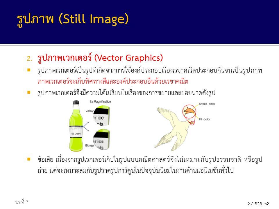 รูปภาพ (Still Image) รูปภาพเวกเตอร์ (Vector Graphics)