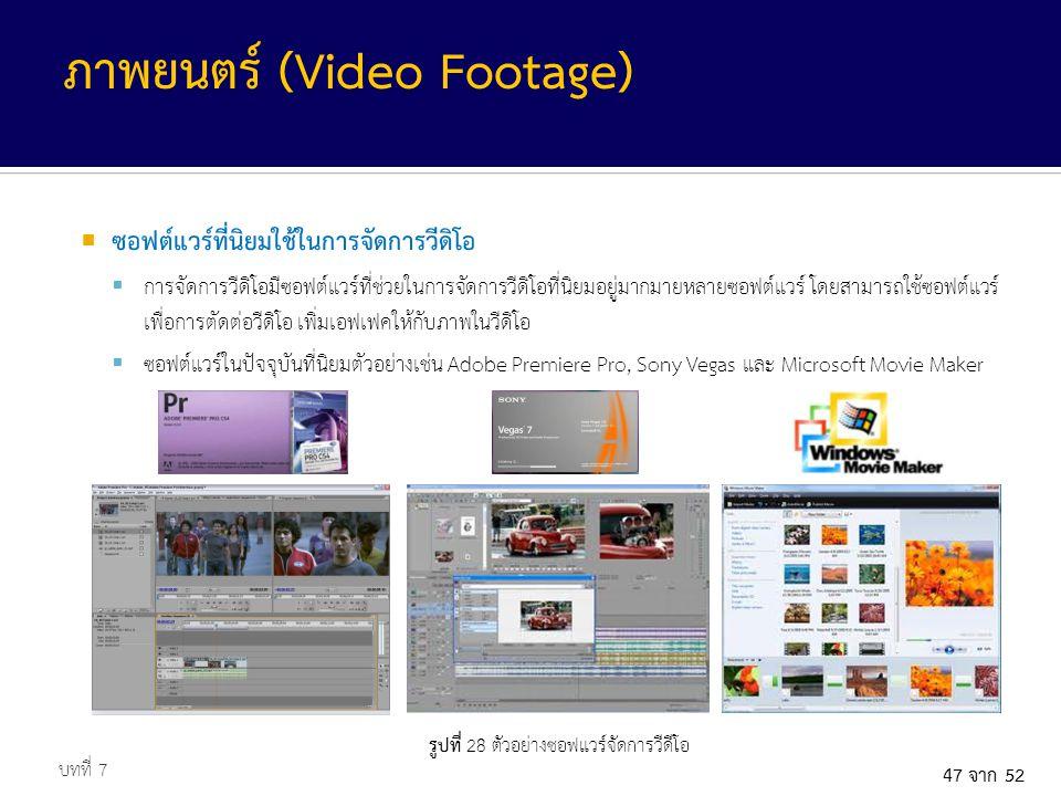 รูปที่ 28 ตัวอย่างซอฟแวร์จัดการวีดีโอ