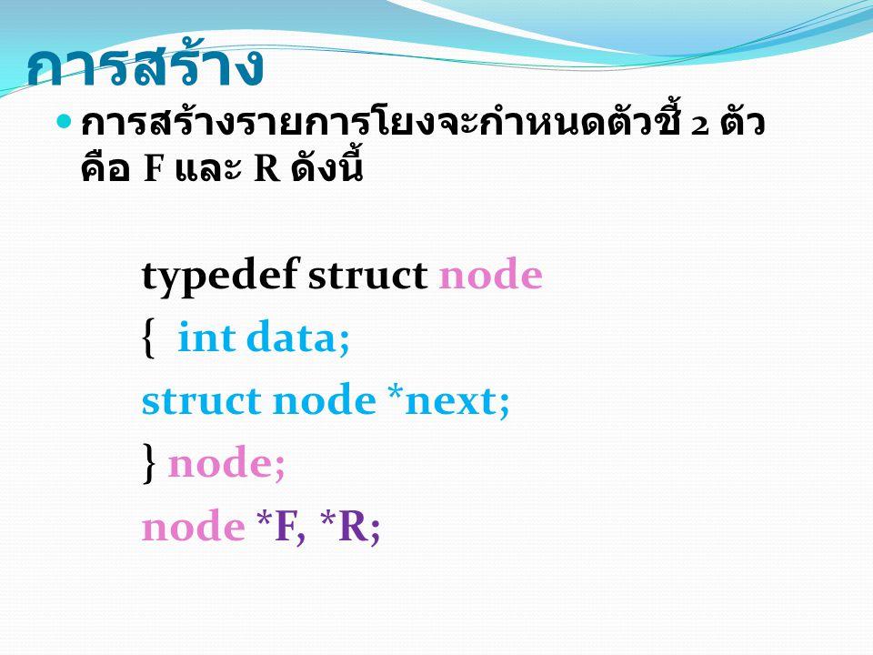 การสร้าง { int data; struct node *next; } node; node *F, *R;