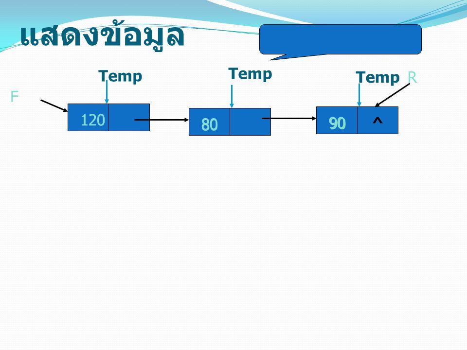 แสดงข้อมูล Temp Temp Temp R F 120 120 80 80 90 90 ^