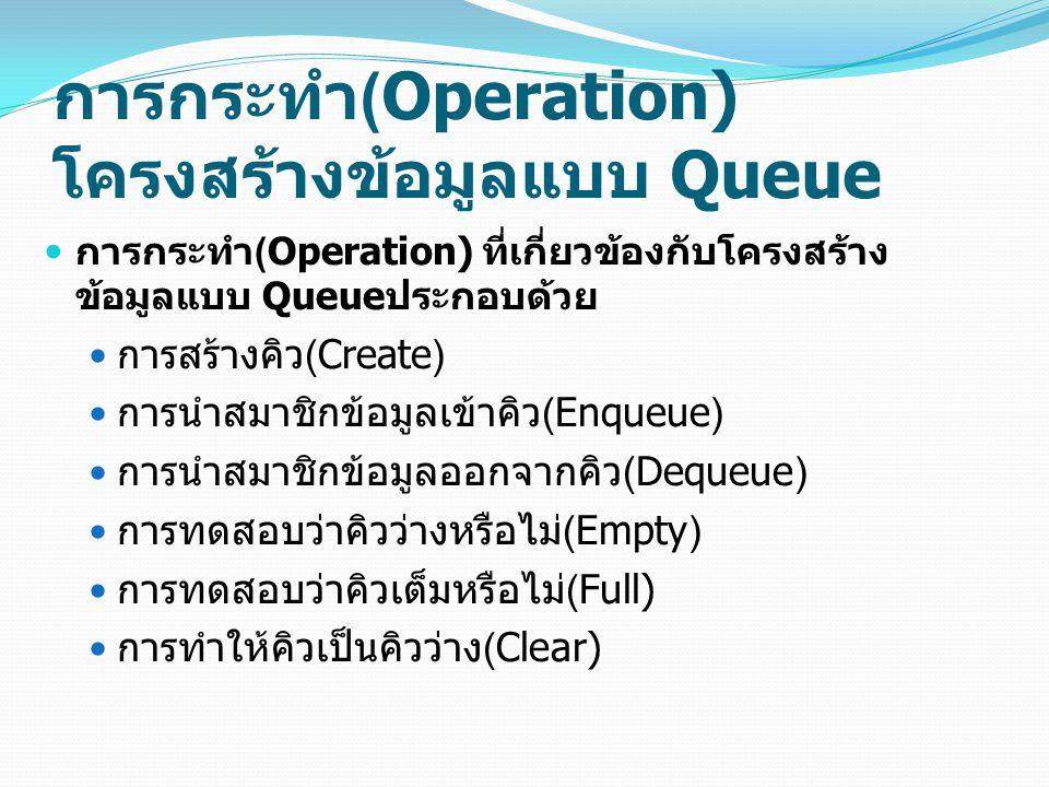 การกระทำ(Operation) โครงสร้างข้อมูลแบบ Queue