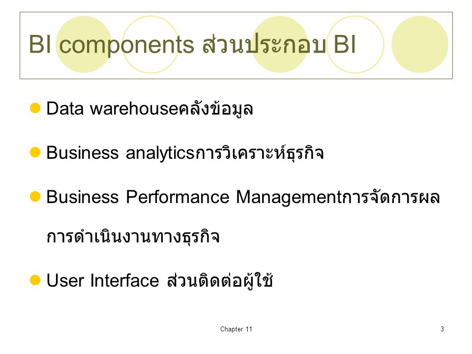 BI components ส่วนประกอบ BI
