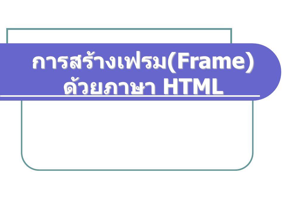 การสร้างเฟรม(Frame) ด้วยภาษา HTML