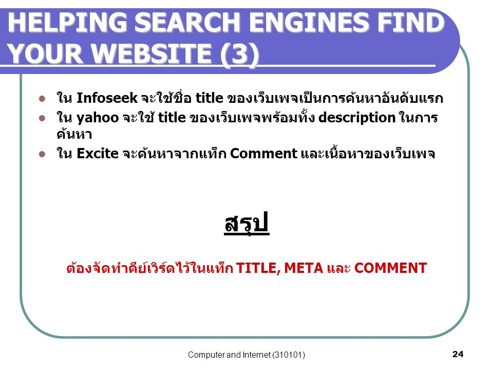 HELPING SEARCH ENGINES FIND YOUR WEBSITE (3)