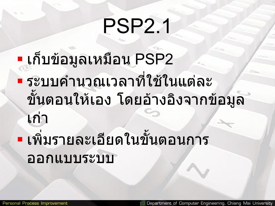 PSP2.1 เก็บข้อมูลเหมือน PSP2