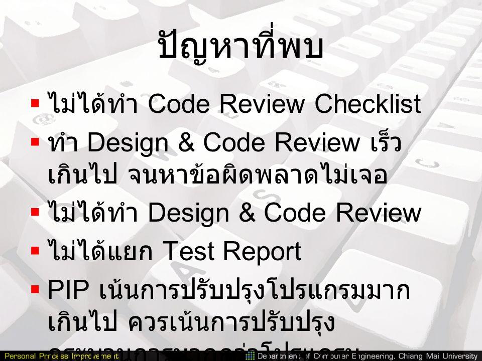 ปัญหาที่พบ ไม่ได้ทำ Code Review Checklist