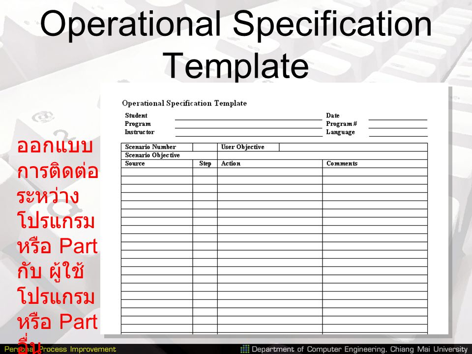 Operational Specification Template