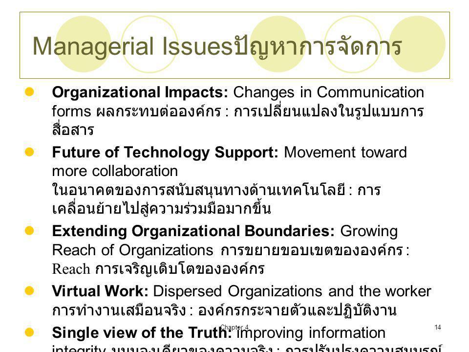 Managerial Issuesปัญหาการจัดการ