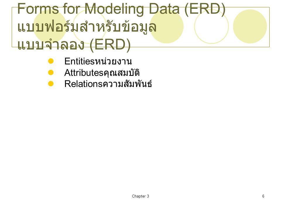 Forms for Modeling Data (ERD) แบบฟอร์มสำหรับข้อมูลแบบจำลอง (ERD)