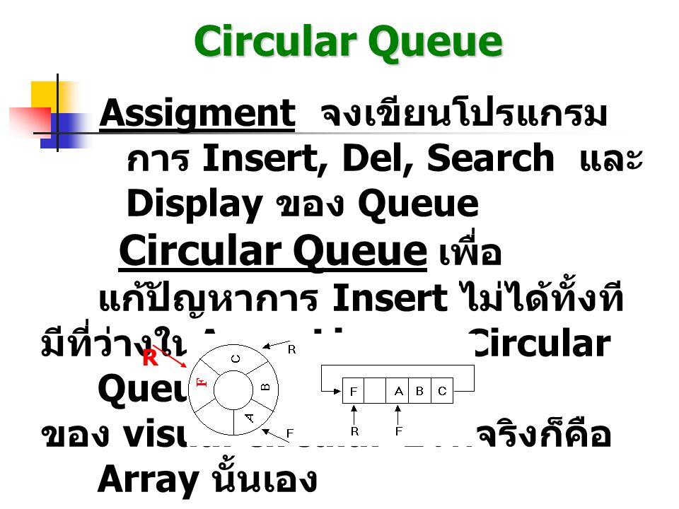Circular Queue Assigment จงเขียนโปรแกรมการ Insert, Del, Search และ Display ของ Queue. Circular Queue เพื่อแก้ปัญหาการ Insert ไม่ได้ทั้งที