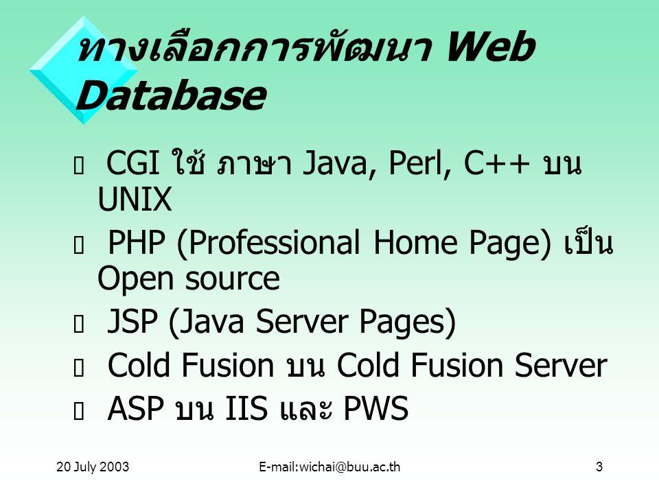 ทางเลือกการพัฒนา Web Database