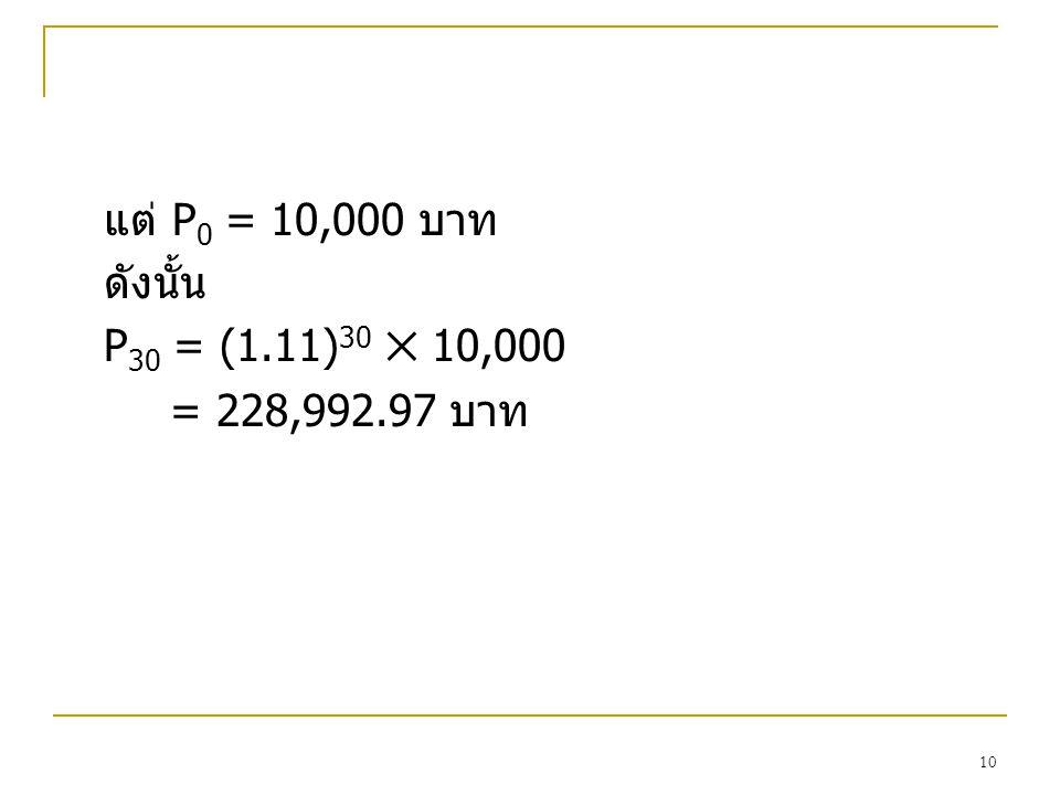 แต P0 = 10,000 บาท ดังนั้น P30 = (1.11)30 ✕ 10,000 = 228,992.97 บาท