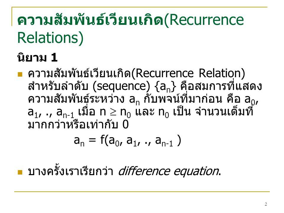 ความสัมพันธเวียนเกิด(Recurrence Relations)