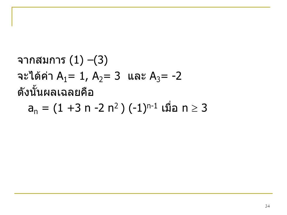 จากสมการ (1) –(3) จะได้ค่า A1= 1, A2= 3 และ A3= -2.