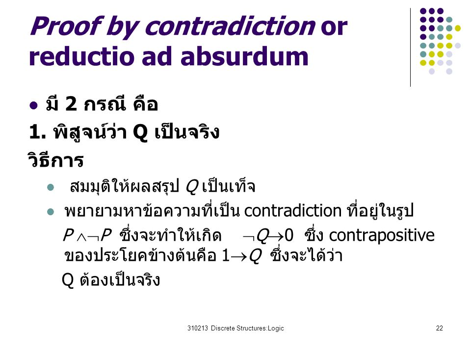 Proof by contradiction or reductio ad absurdum