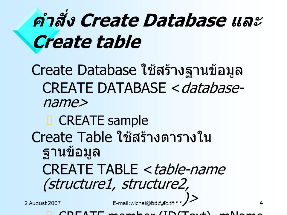 คำสั่ง Create Database และ Create table