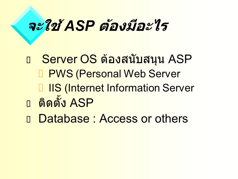 จะใช้ ASP ต้องมีอะไร Server OS ต้องสนับสนุน ASP ติดตั้ง ASP