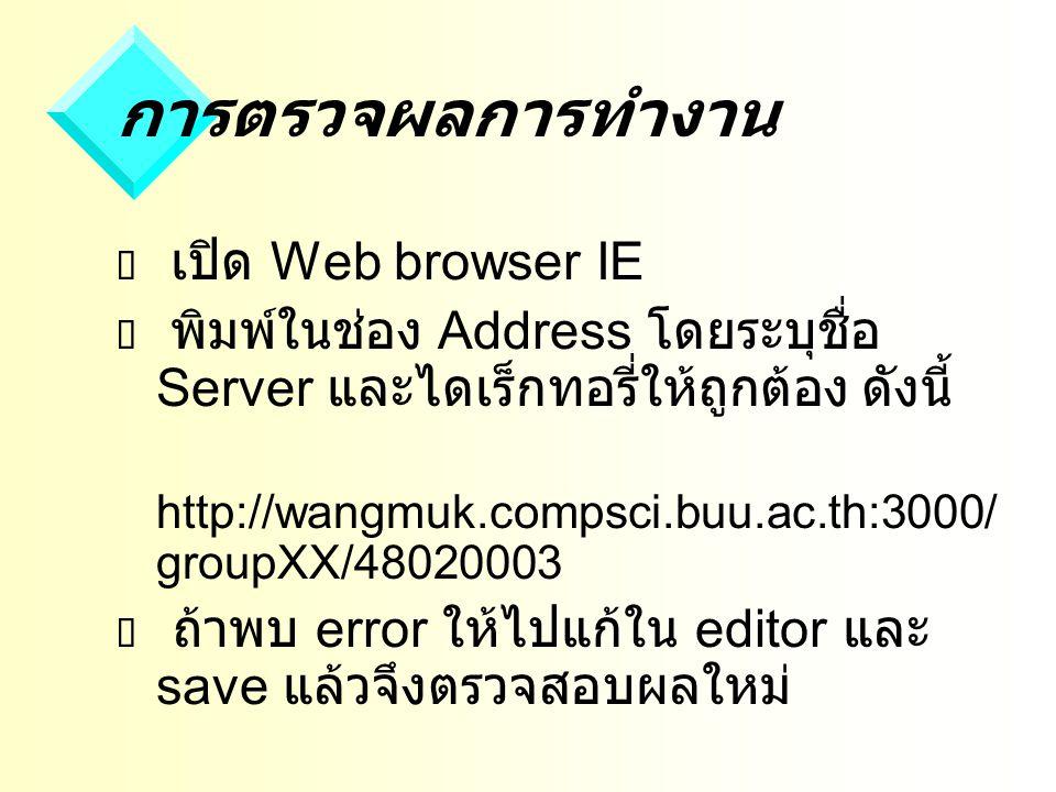 การตรวจผลการทำงาน เปิด Web browser IE