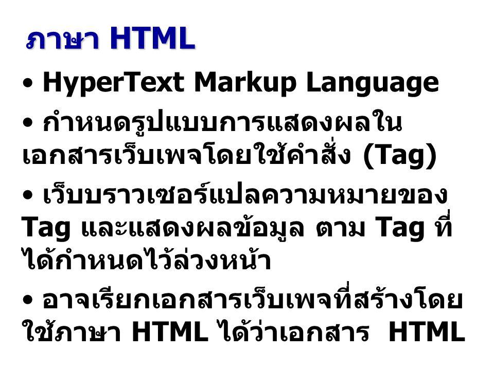 ภาษา HTML HyperText Markup Language