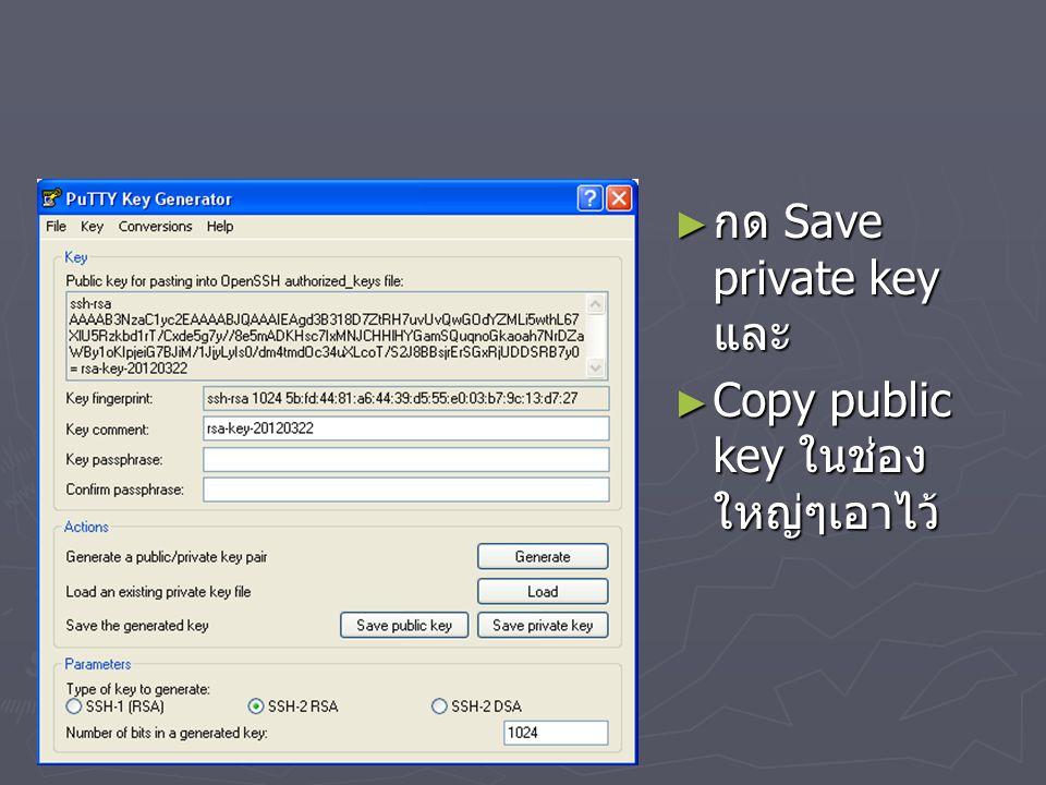 กด Save private key และ Copy public key ในช่องใหญ่ๆเอาไว้