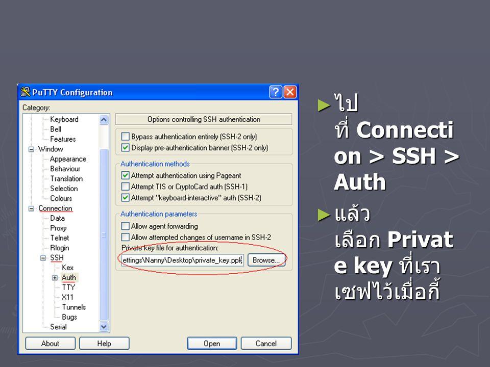 ไปที่ Connection > SSH > Auth