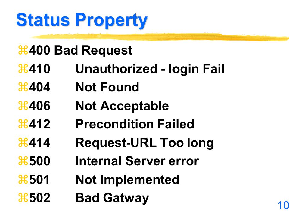 Status Property 400 Bad Request 410 Unauthorized - login Fail