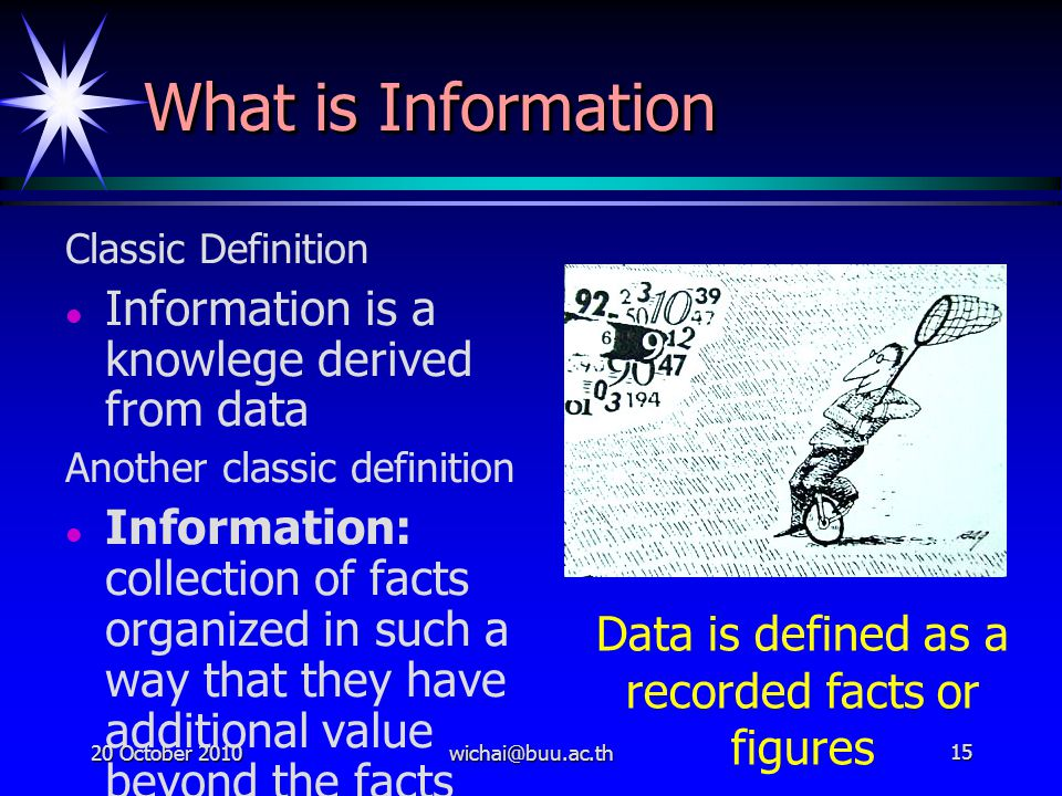Data is defined as a recorded facts or figures