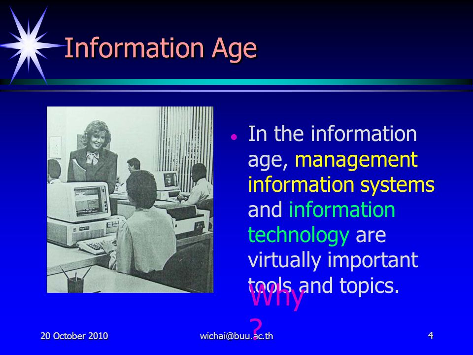 Information Age In the information age, management information systems and information technology are virtually important tools and topics.
