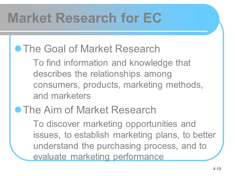 Market Research for EC The Goal of Market Research