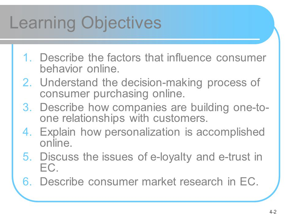 Learning Objectives Describe the factors that influence consumer behavior online.