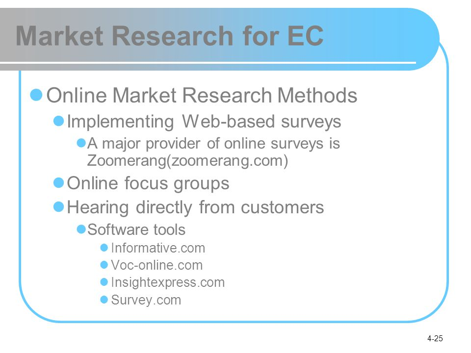 Market Research for EC Online Market Research Methods