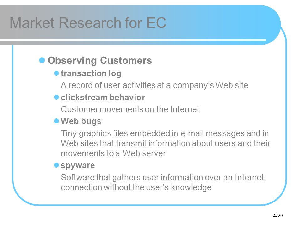 Market Research for EC Observing Customers transaction log