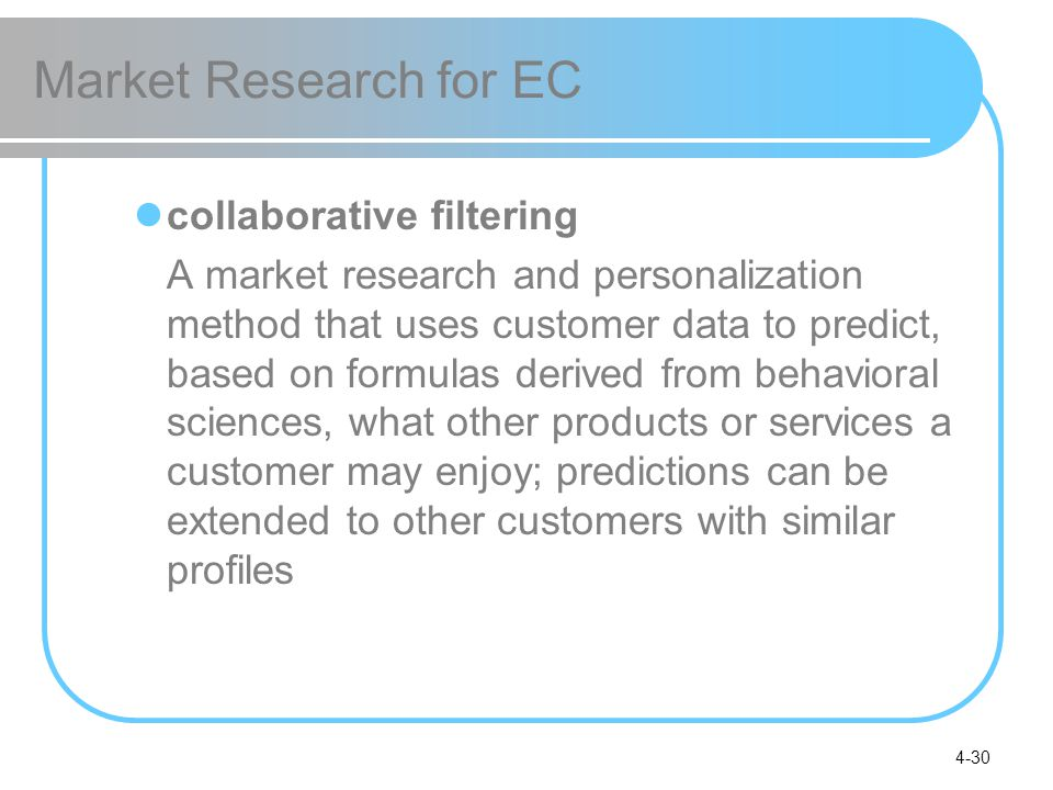 Market Research for EC collaborative filtering
