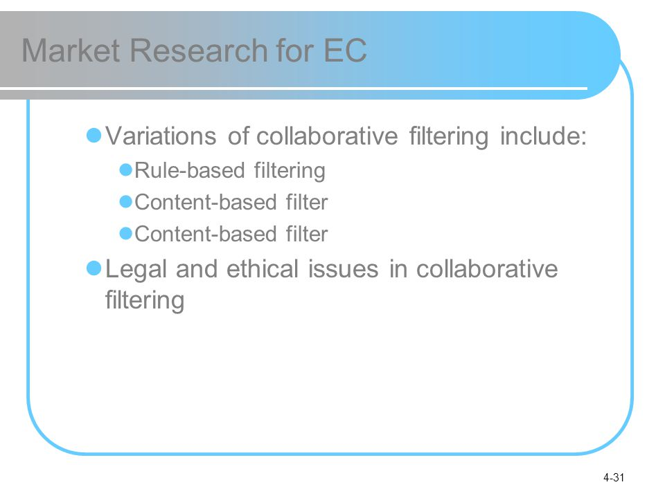 Market Research for EC Variations of collaborative filtering include: