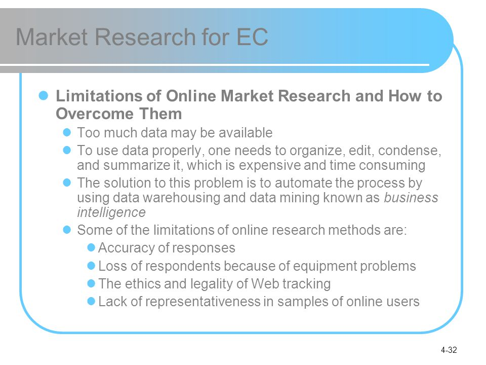 Market Research for EC Limitations of Online Market Research and How to Overcome Them. Too much data may be available.