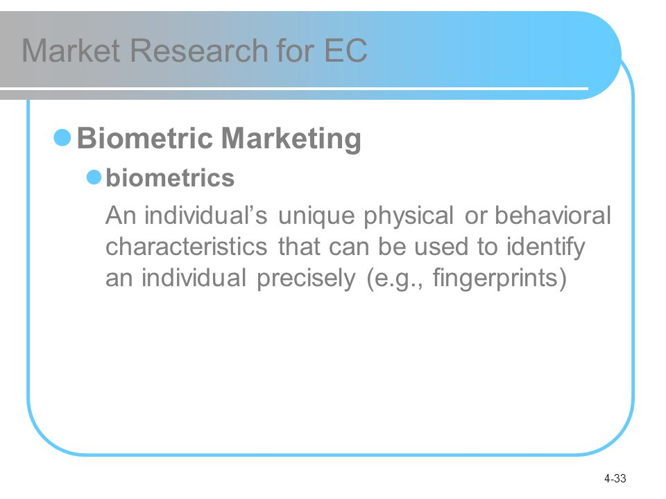 Market Research for EC Biometric Marketing biometrics