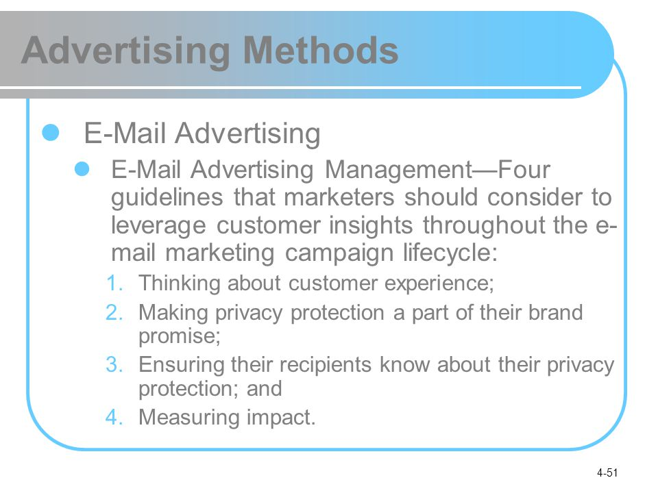 Advertising Methods E-Mail Advertising