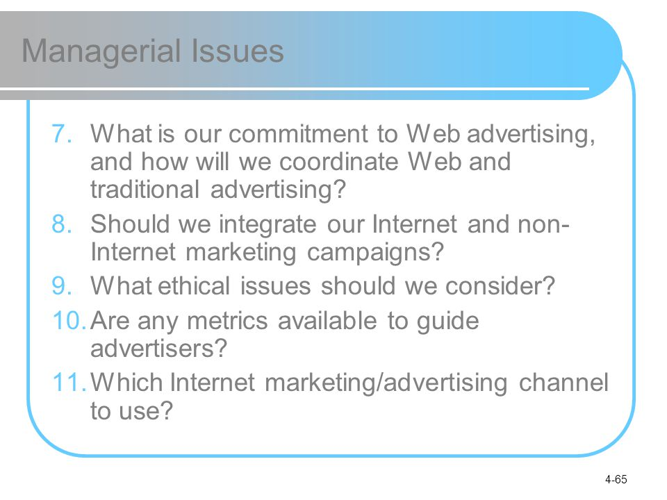 Managerial Issues What is our commitment to Web advertising, and how will we coordinate Web and traditional advertising