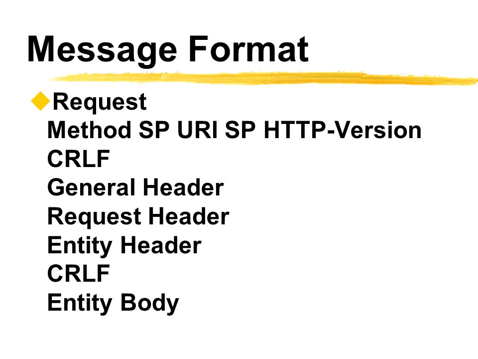 Message Format Request Method SP URI SP HTTP-Version CRLF General Header Request Header Entity Header CRLF Entity Body.