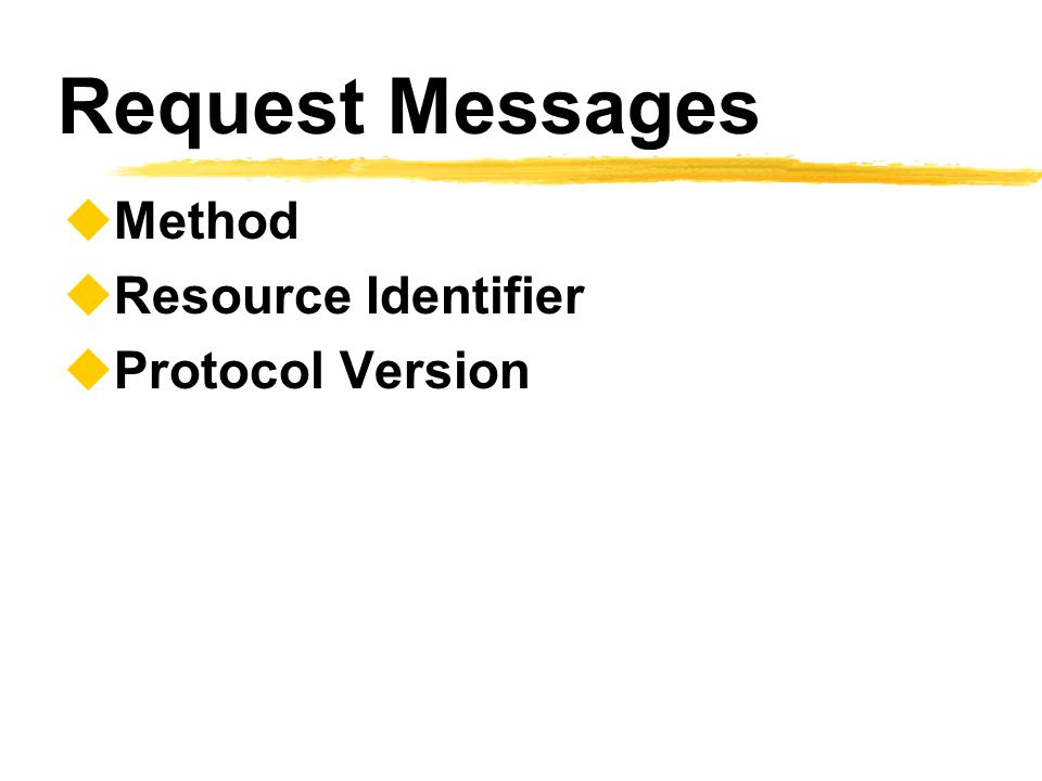 Request Messages Method Resource Identifier Protocol Version