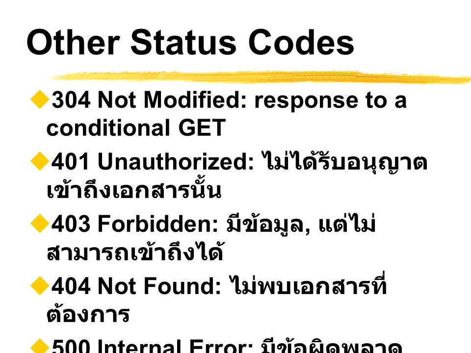 Other Status Codes 304 Not Modified: response to a conditional GET